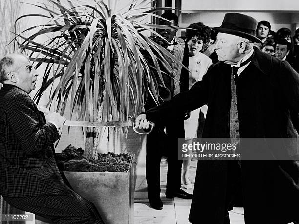 Jean Gabin and Louis de Funes in the Film 'Le Tatoue' by Denys de LaPatelliere in France in 1968