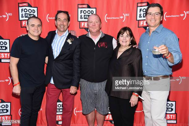 Jean Georges Vongerichten Joseph Carr Mario Batali Ina Garten and guest arrive at EAT Food Film Fest at Bryant Park on June 20 2017 in New York City...