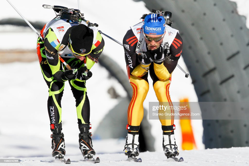 Jean Guillaume Beatrix of France takes 2nd place during the IBU Biathlon World Cup Men's Relay on December 9, 2012 in Hochfilzen, Austria.