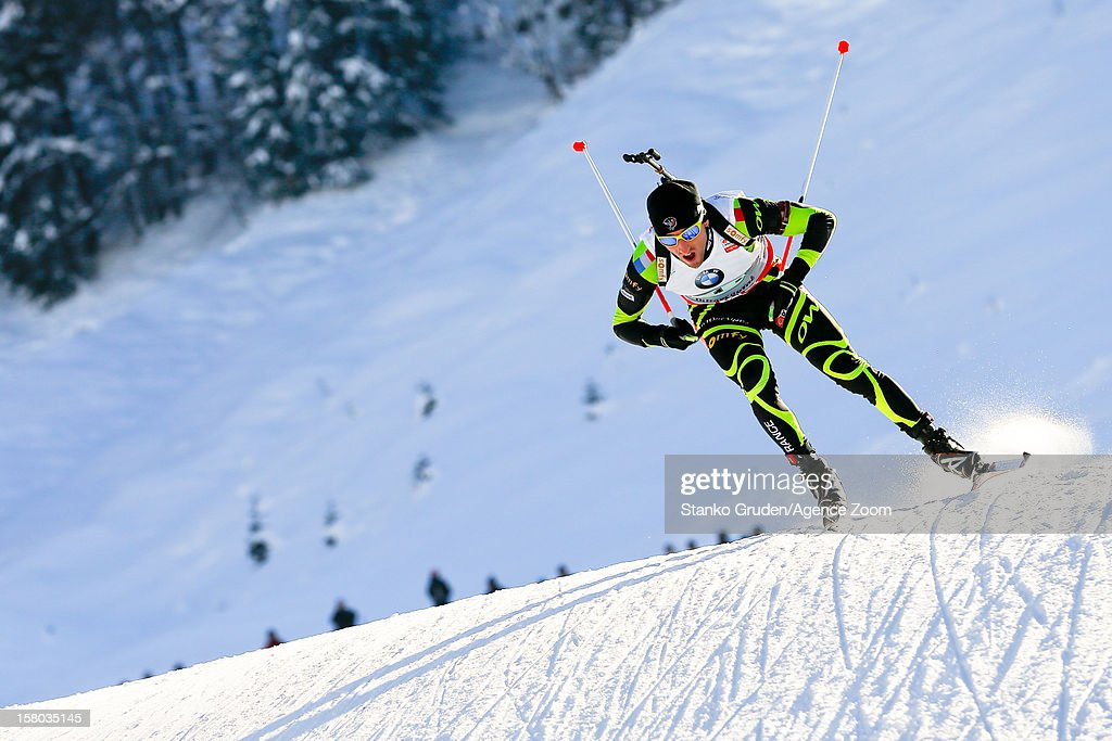 Jean Guillaume Beatrix of France takes 2nd place during the IBU Biathlon World Cup Men's Relay on December 09, 2012 in Hochfilzen, Austria.