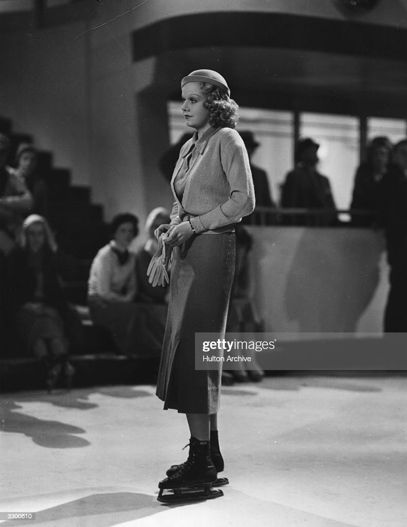Jean Harlow (1911 - 1937) is on ice-skates in a scene from the film 'Wife Vs Secretary', a star comedy drama directed by Clarence Brown for MGM.