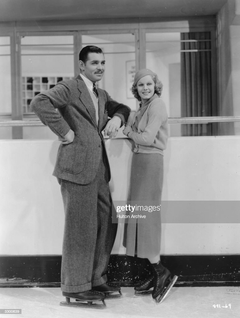 Jean Harlow (1911 - 1937) is on ice-skates with Clark Gable (1901 - 1960) in a scene from the film 'Wife Vs Secretary', a star comedy drama, directed by Clarence Brown for MGM.