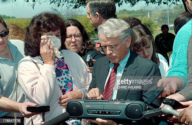Jean Holub grandmother of Branch Davidian cult leader David Koresh wipes her eyes on April 02 1993 as her attorney James Brannon plays a tape for...