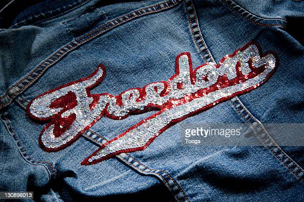 Jean jacket with 'Freedom' patch