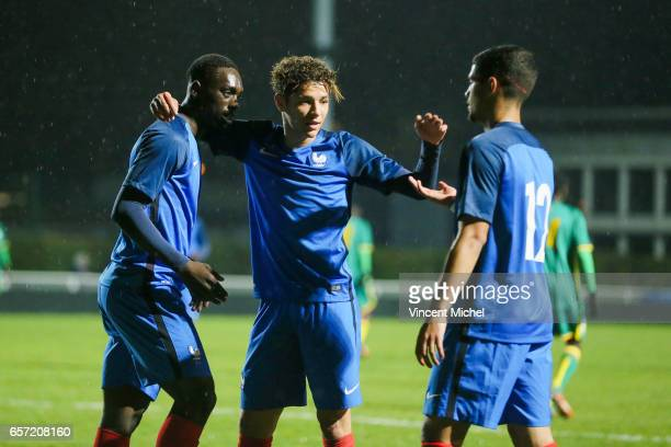 Jean Kevin Augustin Amine Harit and Ludovic Blaas of France celebrates after scoring the third goal during the friendly U20 match between France and...