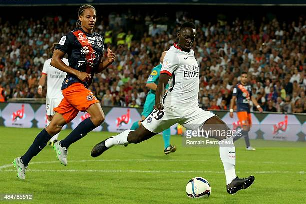 Jean Kevin Augustin and Daniel Congre in action during the French Ligue 1 match between Paris Saint Germain and Montpellier Herault at Stade de la...