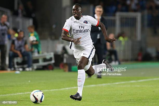 Jean Kevin Augustin in action during the French Ligue 1 match between Paris Saint Germain and Montpellier Herault at Stade de la Mosson on August 21...