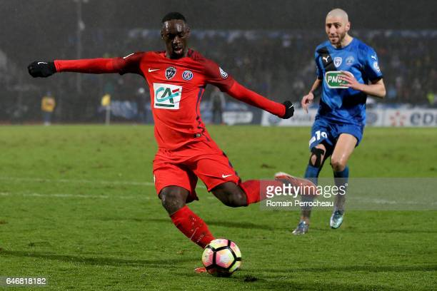 Jean Kevin Augustin of Paris Saint Germain in action during a French Cup match between Niort and Paris Saint Germain at stade Rene Gaillard on March...