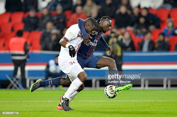 Jean Kevin Augustin of Paris SaintGermain and Adama Soumaoro of Lille LOSC fight for the ball during the French League Cup match between Paris...