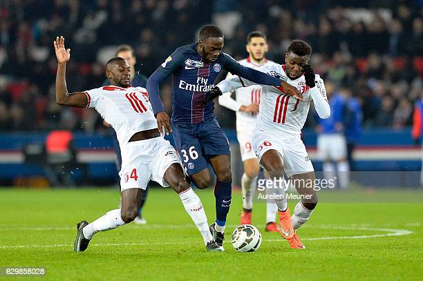 Jean Kevin Augustin of Paris SaintGermain fights for the ball during the French League Cup match between Paris SaintGermain and Lille LOSC on...