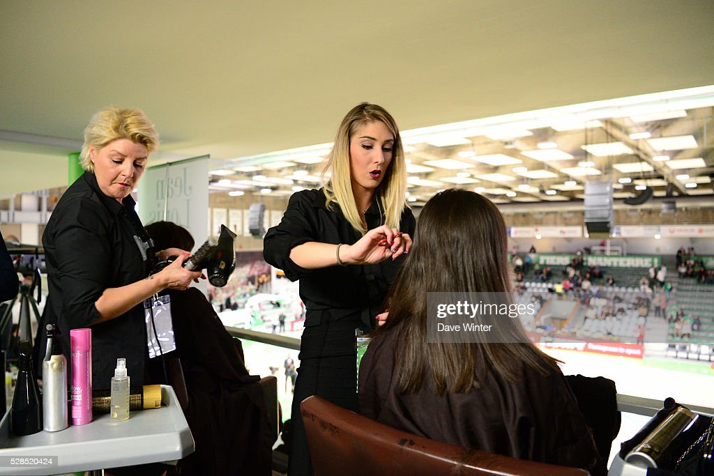 A Jean Louis David hair-dressing salon is installed in the tribunes during the basketball French Pro A League match between Nanterre and Paris Levallois on May 5, 2016 in Nanterre, France.
