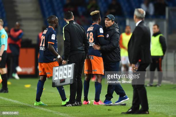 Jean Louis Gasset Coach and Isaac Mbenza of Montpellier during the Ligue 1 match between Montpellier Herault SC and Fc Lorient at Stade de la Mosson...