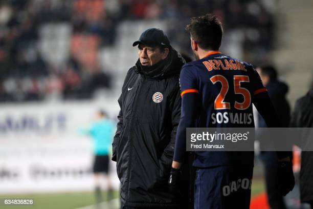 Jean Louis Gasset coach of Montpellier and Mathieu Deplagne of Montpellier during the Ligue 1 match between As Nancy Lorraine and Montpellier Herault...