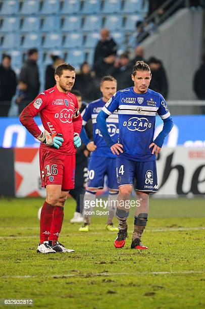 Jean Louis Leca and Mehdi Mostefa of Bastia during the French Ligue 1 match between Bastian and Caen at Stade Armand Cesari on January 28 2017 in...