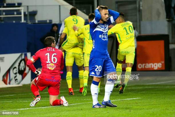 Jean Louis Leca and Pierre Bengtsson of Bastia looks dejected during the French Ligue 1 match between Bastia and Nantes at Stade Armand Cesari on...