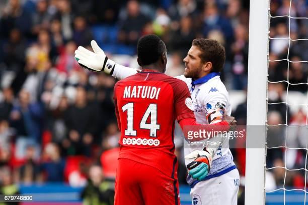 Jean Louis Leca of Bastia complains after the goal and Blaise Matuidi of Paris Saint Germain during the French Ligue 1 match between Paris Saint...