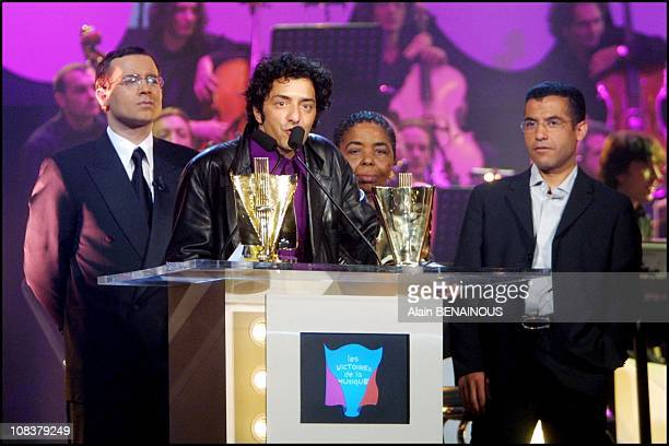 Jean Luc Delarue Rachid Taha Cesaria Evora and Cheb Mami in Paris France on February 17 2001