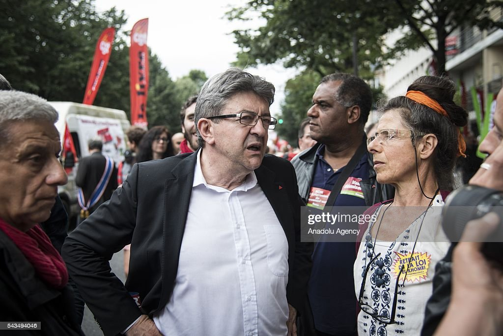 Jean Luc Melenchon, Member of the European Parliament participates a protest against the labour law in Paris, France on June 28, 2016. Country-wide protests and strikes, led by uniuons has been continuing for weeks.