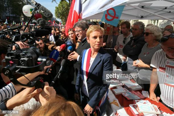 Jean Luc Melenchon member of the national assembly addresses people at a rally in Paris France on September 21 2017 gathered to oppose the French...