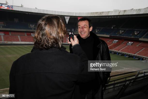 Jean Luc Reichmann gives an interview to Denis Charvet during the Radio 10 launch at Parc des Princes on January 26 2010 in Paris France