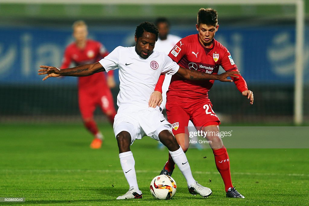 <a gi-track='captionPersonalityLinkClicked' href=/galleries/search?phrase=Jean+Makoun&family=editorial&specificpeople=807728 ng-click='$event.stopPropagation()'>Jean Makoun</a> of Antalyaspor is challenged by during a friendly match between VfB Stuttgart and Antalyaspor at Akdeniz Universitesi on January 7, 2016 in Antalya, Turkey.
