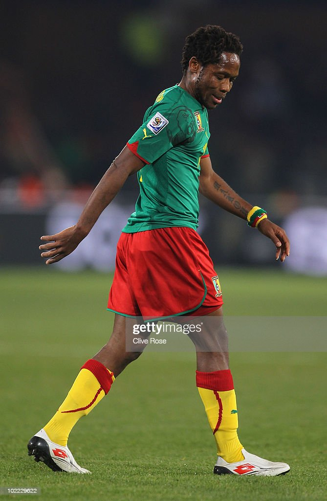 <a gi-track='captionPersonalityLinkClicked' href=/galleries/search?phrase=Jean+Makoun&family=editorial&specificpeople=807728 ng-click='$event.stopPropagation()'>Jean Makoun</a> of Cameroon looks on during the 2010 FIFA World Cup South Africa Group E match between Cameroon and Denmark at Loftus Versfeld Stadium on June 19, 2010 in Tshwane/Pretoria, South Africa.