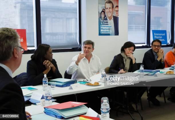 Jean Marc Borello national delegate for the En Marche movement speaks with JeanPaul Delevoye head of the Investiture Committee for legislatives...