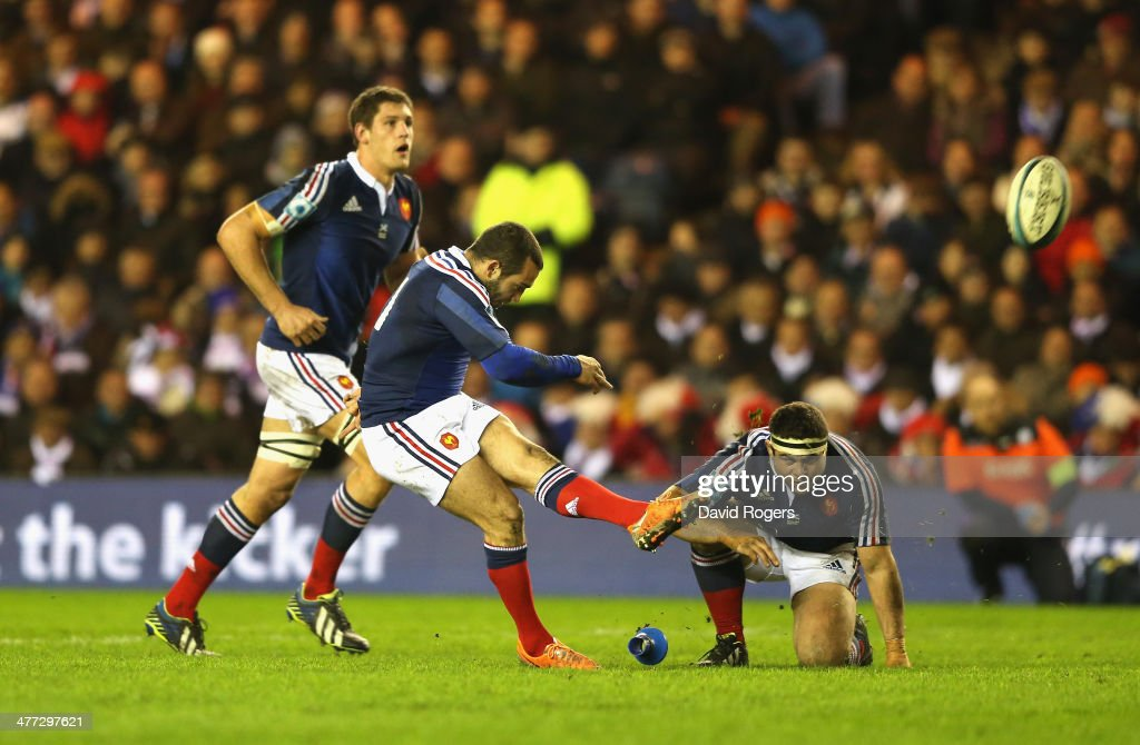 Jean Marc Doussain of France kicks the last minute match winning penalty during the RBS Six Nations match between Scotland and France at Murrayfield Stadium on March 8, 2014 in Edinburgh, Scotland.
