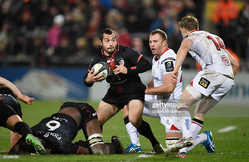 Jean Marc Doussain (C) of Toulouse during the European Champions Cup Pool 1 rugby game at Kingspan Stadium on December 11, 2015 in Belfast, Northern Ireland.