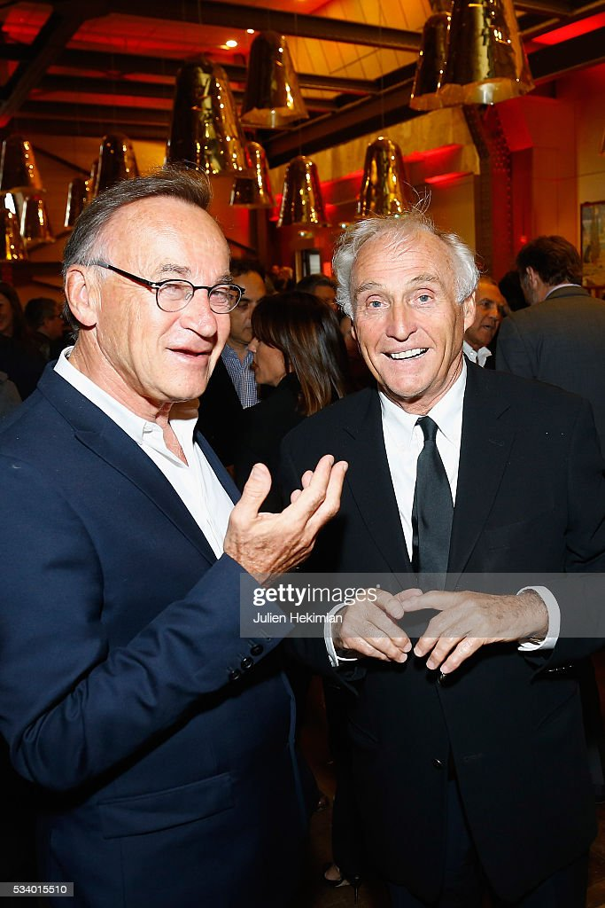 Jean Marc Sylvestre (R) and guest attend the Atlantico 5th Anniversary at Cafe Campana at Musee d'Orsay on May 24, 2016 in Paris, France.