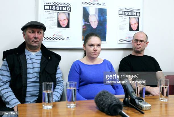 Jean McDonald makes a statement to the media at Alloa police station alongside William McDonald and her husband Lewis McDonald in relation to missing...