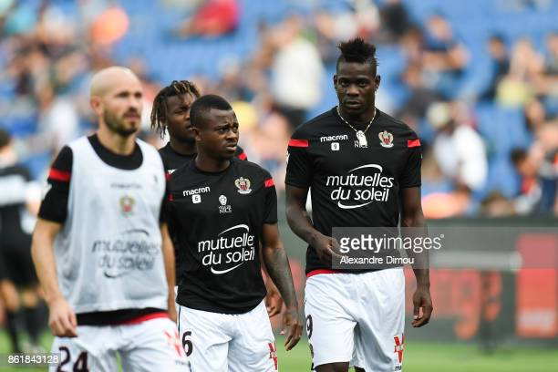 Jean Michael Seri and Mario Balotelli of Nice during the Ligue 1 match between Montpellier Herault SC and OGC Nice at Stade de la Mosson on October...
