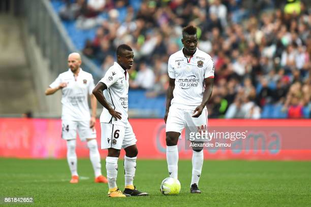 Jean Michael Seri and Mario Balotelli of Nice looks dejected during the Ligue 1 match between Montpellier Herault SC and OGC Nice at Stade de la...