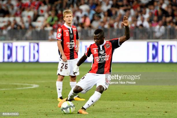 Jean Michael Seri and Vincent Koziello of Nice during the Ligue 1 match between OGC Nice and Troyes Estac at Allianz Riviera on August 11 2017 in Nice