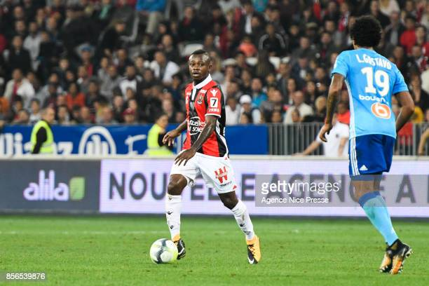 Jean Michael Seri of Nice and Luiz Gustavo of Marseille during the Ligue 1 match between OGC Nice and Olympique Marseille at Allianz Riviera on...