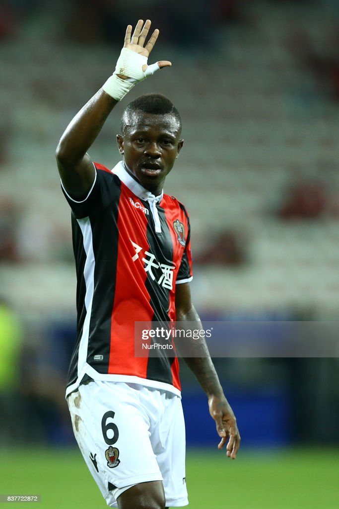 Jean Michael Seri of Nice during the UEFA Champions League Qualifying Play-Offs round, second leg match, between OGC Nice and SSC Napoli at Allianz Riviera Stadium on August 22, 2017 in Nice, France.