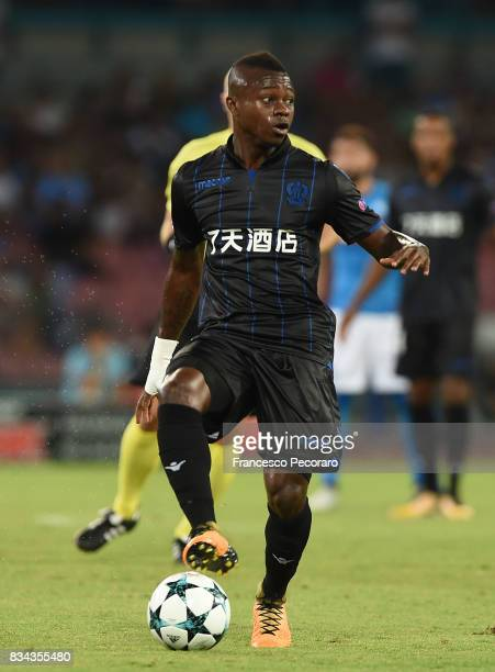 Jean Michael Seri of OGC Nice in action during the UEFA Champions League Qualifying PlayOffs Round First Leg match between SSC Napoli and OGC Nice at...