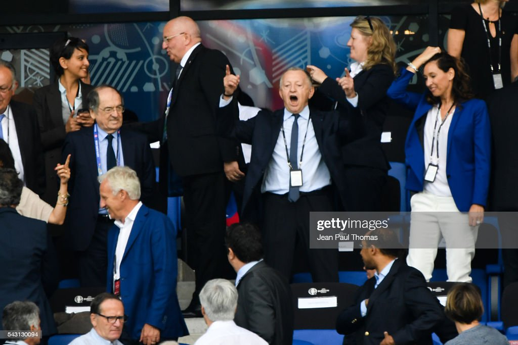 Jean Michel Aulas during the European Championship match Round of 16 between France and Republic of Ireland at Stade des Lumieres on June 26, 2016 in Lyon, France.