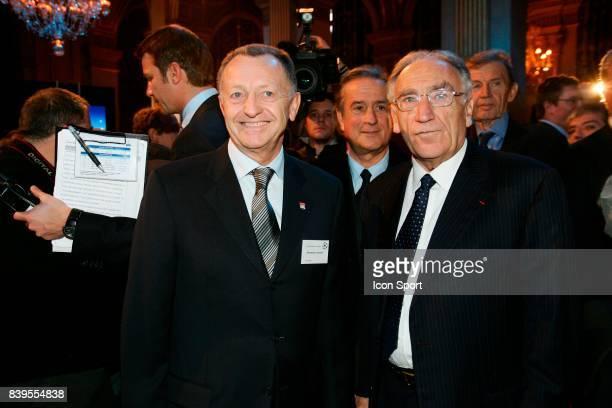 Jean Michel AULAS et Jean Pierre ESCALETTES Tirage au sort de la Champions League Mairie de Paris