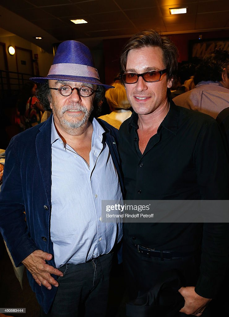 Jean Michel Ribes and Thomas Dutronc pose after the show of Pierre Richard 'Le Vendredi 13 De Pierre Richard' at L'Olympia on June 13 2014 in Paris...