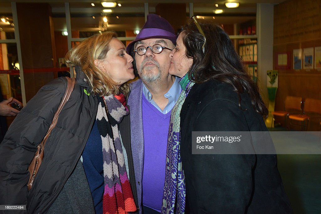 Jean Michel Ribes (C) and two guests attend 'Mariage Pour Tous' at Theatre du Rond-Point on January 27, 2013 in Paris, France.