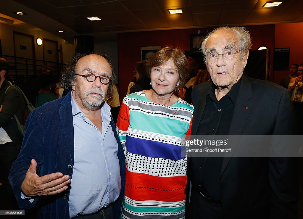 Jean Michel Ribes, <a gi-track='captionPersonalityLinkClicked' href=/galleries/search?phrase=Macha+Meril&family=editorial&specificpeople=672802 ng-click='$event.stopPropagation()'>Macha Meril</a> and <a gi-track='captionPersonalityLinkClicked' href=/galleries/search?phrase=Michel+Legrand&family=editorial&specificpeople=2004179 ng-click='$event.stopPropagation()'>Michel Legrand</a> pose after the one man show of Pierre Richard 'Le Vendredi 13 De Pierre Richard' at L'Olympia on June 13, 2014 in Paris, France.