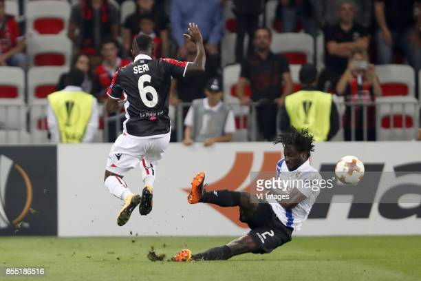 Jean Michel Seri of OCG Nice Fankaty Dabo of Vitesse during the UEFA Europa League group K match match between OGC Nice and Vitesse Arnhem on...