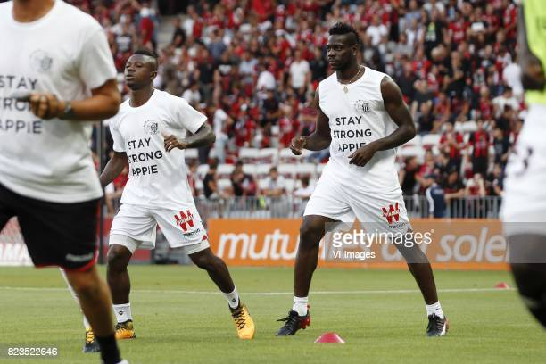 Jean Michel Seri of OCG Nice Mario Balotelli of OCG Nice with shirt Abdelhak Nouri of Ajax stay strong Appie during the UEFA Champions League third...