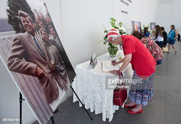 Jean Migre age 81 of Hanover MA signing one of the condolence books for Senator Edward M Kennedy at the John F Kennedy Library in the Dorchester...