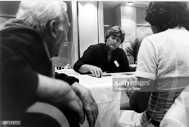 Jean Noël Grinda former French tennis champion in the first Backgammon Open in Cannes France 1983