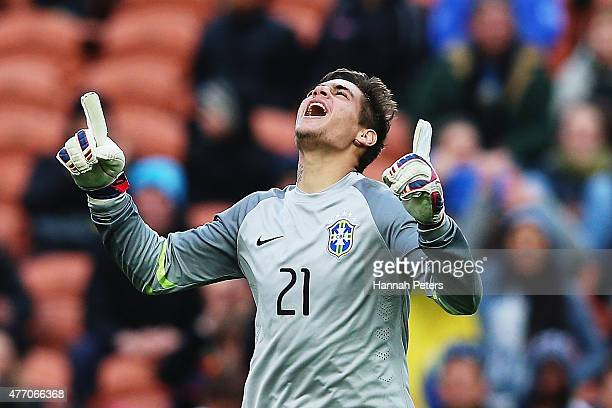Jean of Brazil celebrates after saving a goal in a penalty shoot out to win the FIFA U20 World Cup New Zealand 2015 quarter final match between...