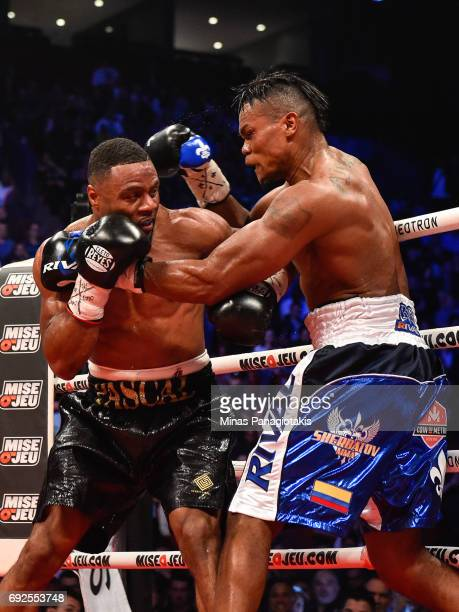 Jean Pascal and Eleider Alvarez fight it out during the WBC light heavyweight silver championship match at the Bell Centre on June 3 2017 in Montreal...