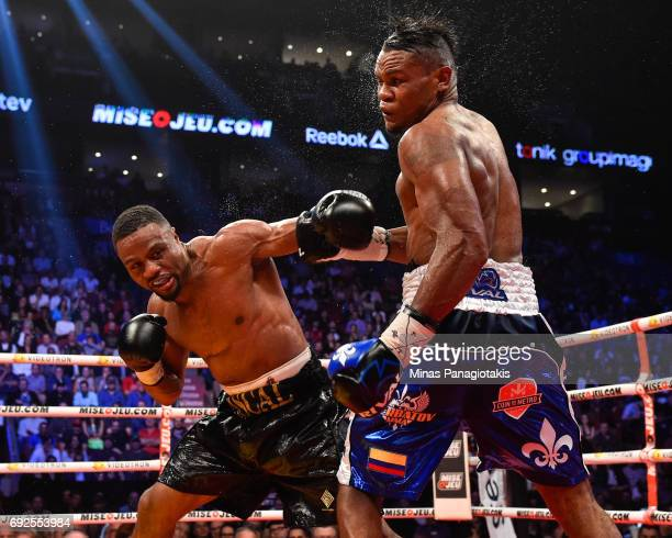 Jean Pascal connects with a punch against Eleider Alvarez during the WBC light heavyweight silver championship match at the Bell Centre on June 3...