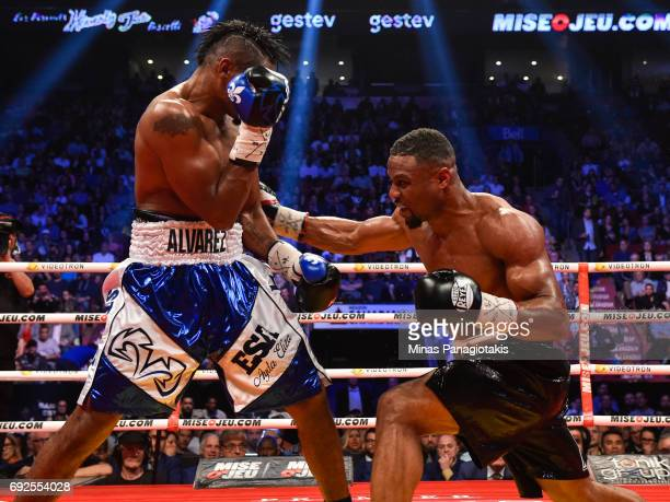 Jean Pascal connects with a right hook against Eleider Alvarez during the WBC light heavyweight silver championship match at the Bell Centre on June...